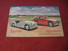 1950's Triumph TR2 Aston Martin Sales Sheet Brochure Booklet Catalog Old