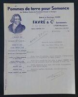 Facture 1950 POMME DE TERRE DE SEMENCE FAVRE LYON  illustrée 64