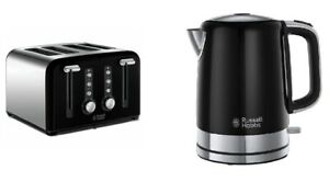 RUSSELL HOBBS Windsor 22832 4-Slice Toaster + 3000W Kettle Black Brand New SET