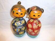 Vtg Japanese Wood Kokeshi Bobble Head Nodder Doll Antique Oriental Trinket Box