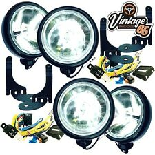 "4x 5"" BMW MINI BLACK SPOT/DRIVING LAMPS/LIGHTS KIT WITH BLACK BRACKETS & WIRING"