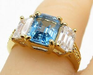 925 Silver - Blue & White Topaz Gold Plated 3 Stone Band Ring Sz 7 - R9461