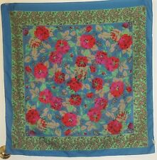 "TERRIART Royal, Pink, Red Flowers 30"" Square Scarf-Vintage"