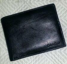 CALVIN KLEIN BiFold Pass Case Slim Wallet BLACK LEATHER Men's Gently Used