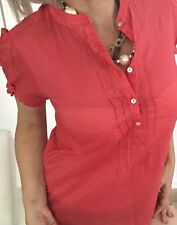 TOMMY HILFIGER WOMENS BLOUSE RED COTTON CUP SLEEVE BUTTONS SZ 8
