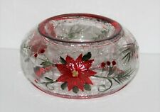 YANKEE CANDLE POINSETTIA Crackle Glass Tea Light Candle Holder, New in Box