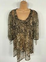 WOMENS NEW LOOK BROWN FLORAL EMBELLISHED SMART CASUAL TUNIC TOP BLOUSE SIZE UK14