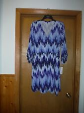 Long Sleeve V Neck Dress LG APT.9 Multi Blue Stripe Belt Knee length NWT