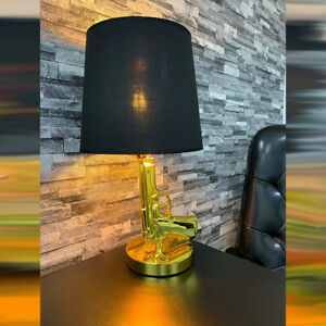 CGC Gold Hand Gun Large Table Lamp Statement Living Room Lounge Bedroom Office