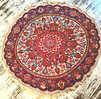 Sweet Colourful RARE Round VINTAGE hand knotted Oriental WOOL Rug carpet 100cms