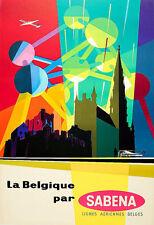 Travel Belgium Sabena Midcentury Modern Atomium  Holiday Vacation Poster Print