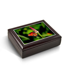 A Radiant Colorful Monarch Butterfly Tile Musical Jewelry Box