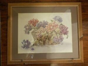 Basket of Hydrangeas Watercolor by Caren Heine MAKE OFFER