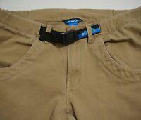 KAVU Chilliwack Pants Canvas Mens L Belted Khaki Brown Hiking Climbing