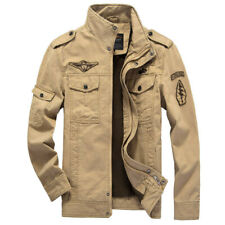 Men's Spring Autumn Outwear Military Jackets Casual Cotton Collar Jacket Coat