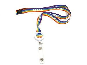 15mm Rainbow Nurse  Badge Reel Lanyards With  Safety Break Breakaway NHS Nurse