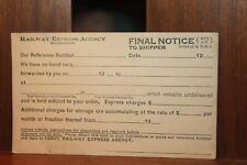 Vintage Railway Express Agency Inc Postcard Final Notice to Seller  Unused (b)