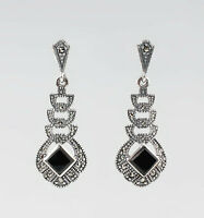 9927682 925er Silber Onyx-Markasit-Ohrringe Vintage 4x1,5cm