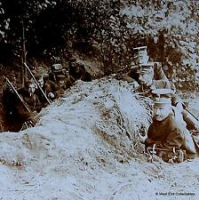 WW1 Stereoview - Belgian Officers and Soldiers Resting in the Trenches & Rifles