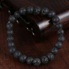 Pulsera bolitas de lava negra elastica para hombre y mujer 17 cm de largo