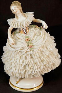 Antique Franz Witter Dresden Germany Lace Dancing Lady Figurine
