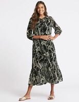 RRP £45, NEW M&S COLLECTION  Palm Print 3/4 Sleeve Tunic Midi Dress, SZS 6-22
