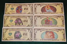 "DISNEY DOLLAR VILLAINS AND HERO'S 2013 ""D"" SERIES 3 MATCHING SERIAL NUMBERS 5 DI"