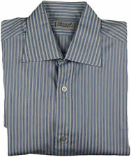 CHARVET BLUE STRIPE FRENCH CUFF SHIRT-38/15-MADE IN FRANCE