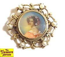 Antique Victorian Hand Painted Portrait 14K Gold & Pearl Pendant Brooch Pin 10g+