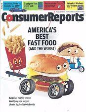 Consumer Reports Magazine August 2014 Best & Worst Fast Food Vette Vs Porshe