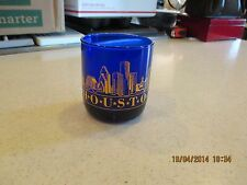 Houston Orig. Libbey Cobalt Blue Rocks Metropolitan Tumbler Glass Gold Lettering