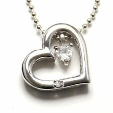 Blue Moon Stone Open Heart Silver Pendant Silver 925 Necklace Cubic F/S