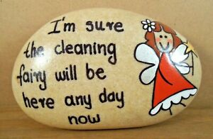 Pebble art and craft.Hand painted rocks, stones,'Cleaning fairy' unique gift