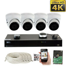 8 Channel 4K NVR (4) 8MP 2160p Waterproof IP POE Dome Security Camera System 1TB