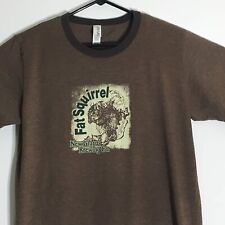 New Glarus Brewing Company Fat Squirrel Ringer T-Shirt XL Brown Made In USA