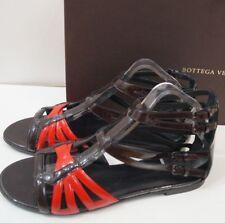 BOTTEGA VENETA Burgundy Brown & Red Flat Gladiator Sandals Shoes EU40 UK7- NEW!