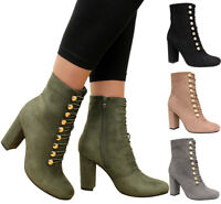 Ladies Womens High Block Heels Chelsea Buckle Lace Tie Up Ankle Boots Shoes Size
