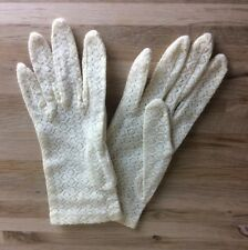 Vintage Gloves Ladies Stretch Lace One Size White Cream Retro Pin Up