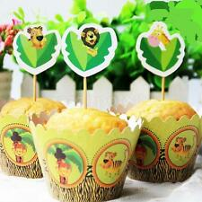 24pcs Jungle Safari Animal Cupcake Wrappers Toppers Picks Decor Party Supply