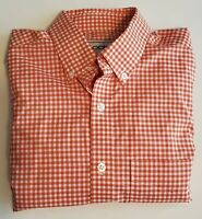 Oobe Orange/White Checked Long Sleeve Mens Size M Button Down Shirt 23-9