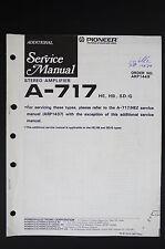 Pioneer a-717 (Hé, HB) Original Amplifier Additional service-manual/Diagram o117