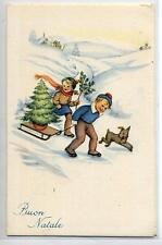 MARIAPIA Bambini con Albero su Slittino Neve Cagnolino PC circa 1940 ITALY