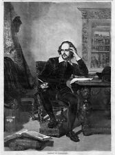 WILLIAM SHAKESPEARE PORTRAIT ENGLISH POET PLAYWRIGHT ACTOR DRAMATIST ENGRAVING