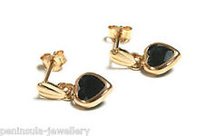 9ct Gold Sapphire dangly Drop Heart earrings Gift boxed Made in UK