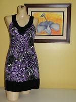 womens dress Wrapper Purple Floral Sleeveless Above Knee  Medium / Large New