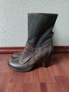 Damen Stiefeletten 37 Candice Cooper Braun Leder Stiefel Absatz