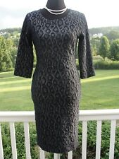 NINETEEN SEVENTY ONE REISS NAVY BLUE & GOLD BODYCON FITTED DRESS 3/4 SLEEVES 8