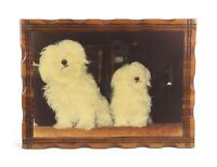 Vintage Mid Century Carved Wood Lacquer Wall Hanging Plaque Coton de Tulear Dogs