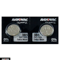 2 x Rayovac 381 batteries Silver Oxide 1.55V SR1120SW SR55 V381 Watches Swiss
