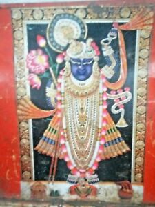 Vintage Old HINDU GOD WITH LIFE-LINE Advertising Litho Print Tin Sign Board